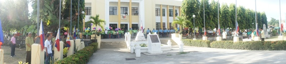 flag raising ceremony wide view