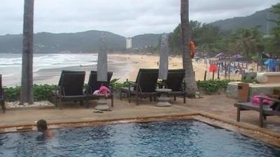 Looking over Karon Beach Resort pool onto Karon Beach Phuket